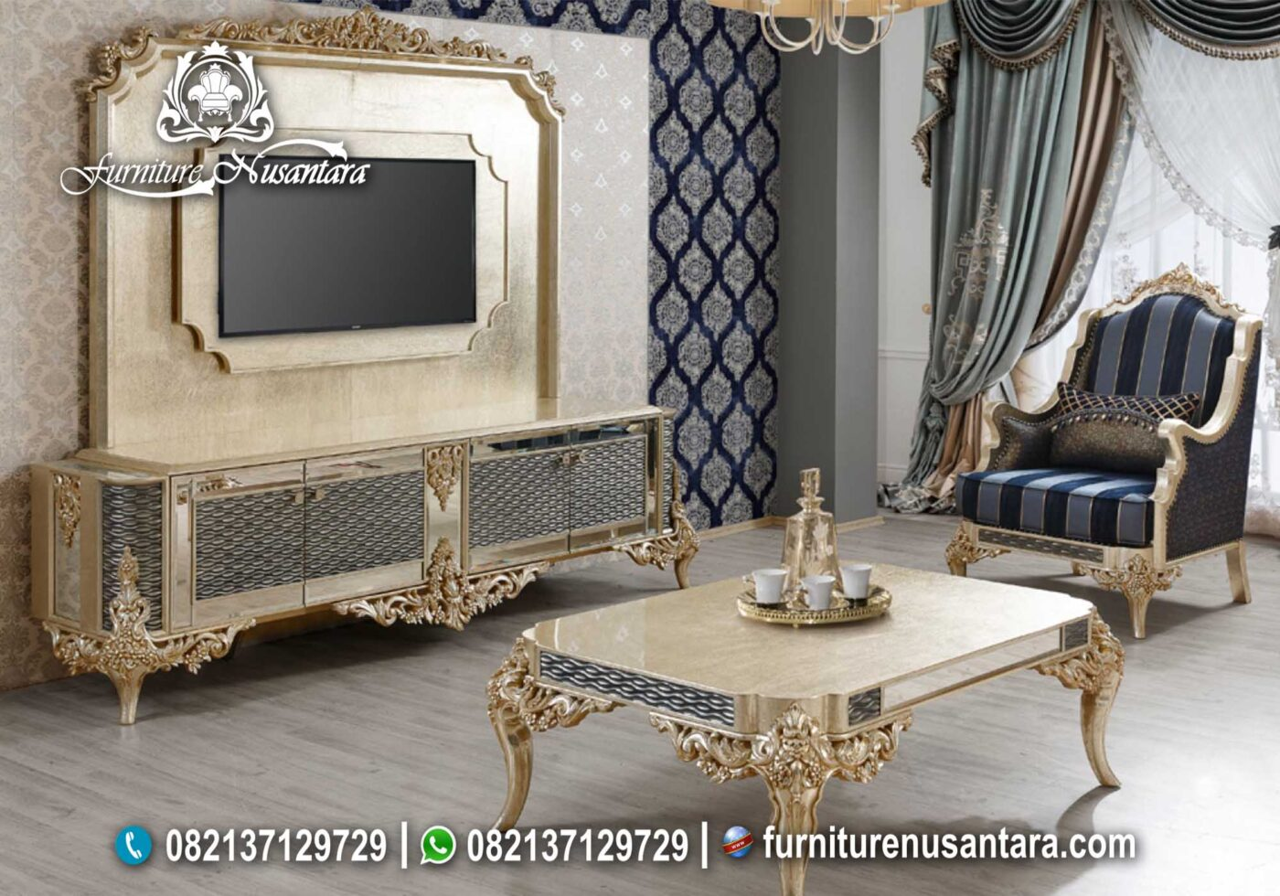 Backdrop TV Klasik Full Gold Turki BTV-15