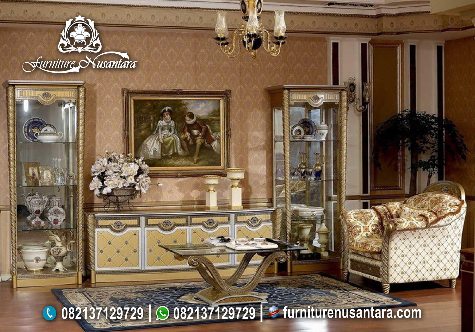 Meja TV Lemari Pajangan Cream Colour Klasik Ulir BTV-19