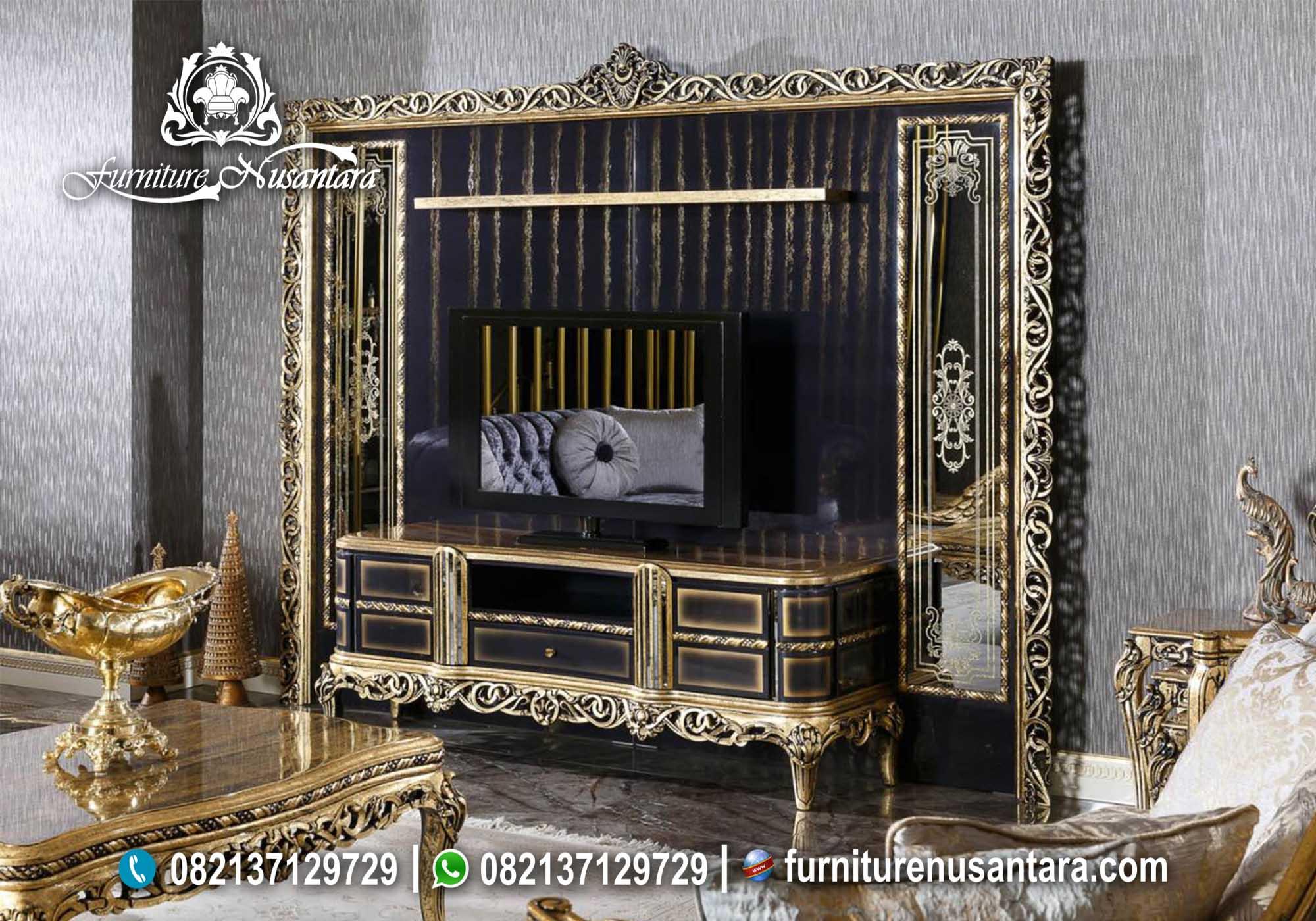 Jual Backdrop TV Klasik Ukir Mewah BTV-24, Furniture Nusantara