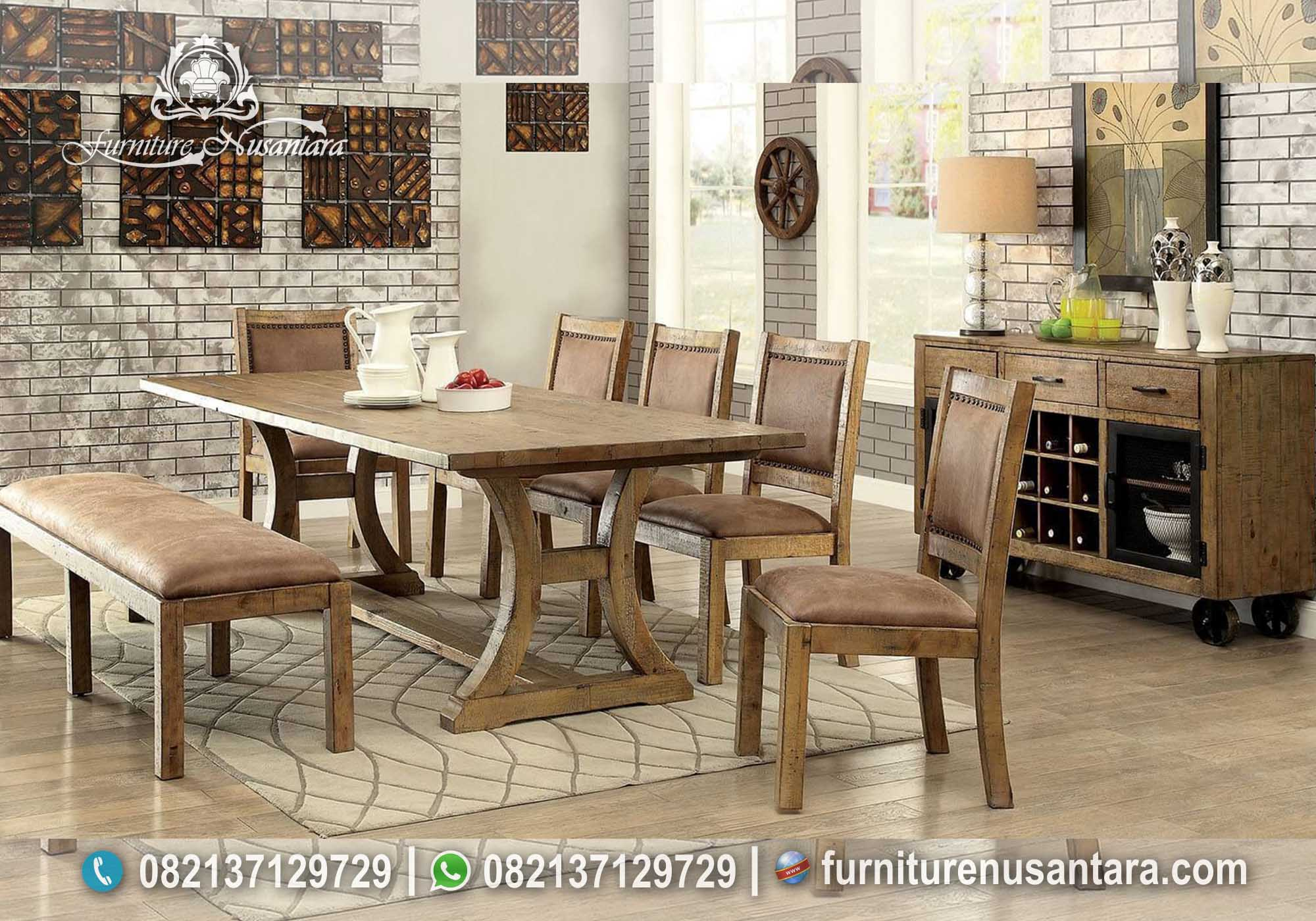 Set Meja Makan Antik Kayu Lama MM-93