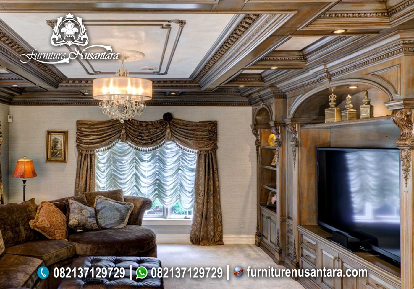 Desain Lemari TV Full Dinding Kayu Jati BTV-29, Furniture Nusantara