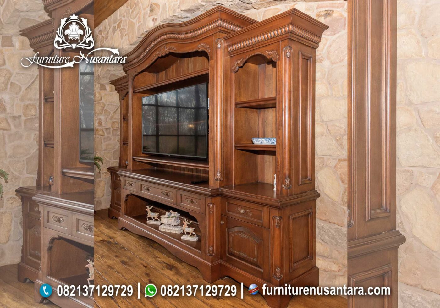 Jual Lemari TV Jati Natural BTV-32, Furniture Nusantara