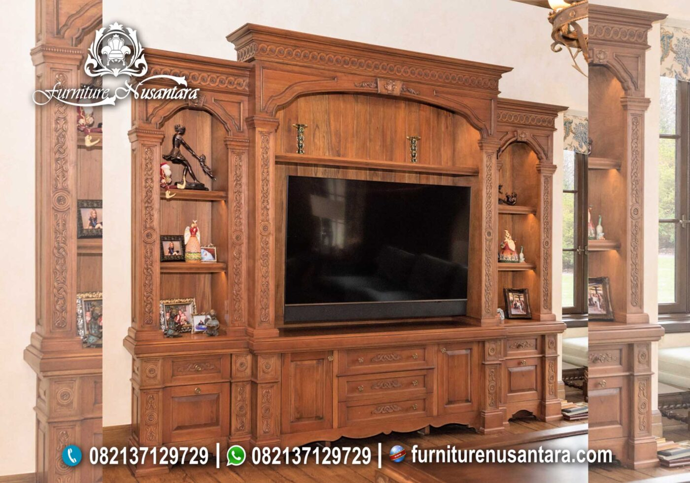 Buffet TV Klasik Minimalis Jati Natural BTV-33, Furniture Nusantara