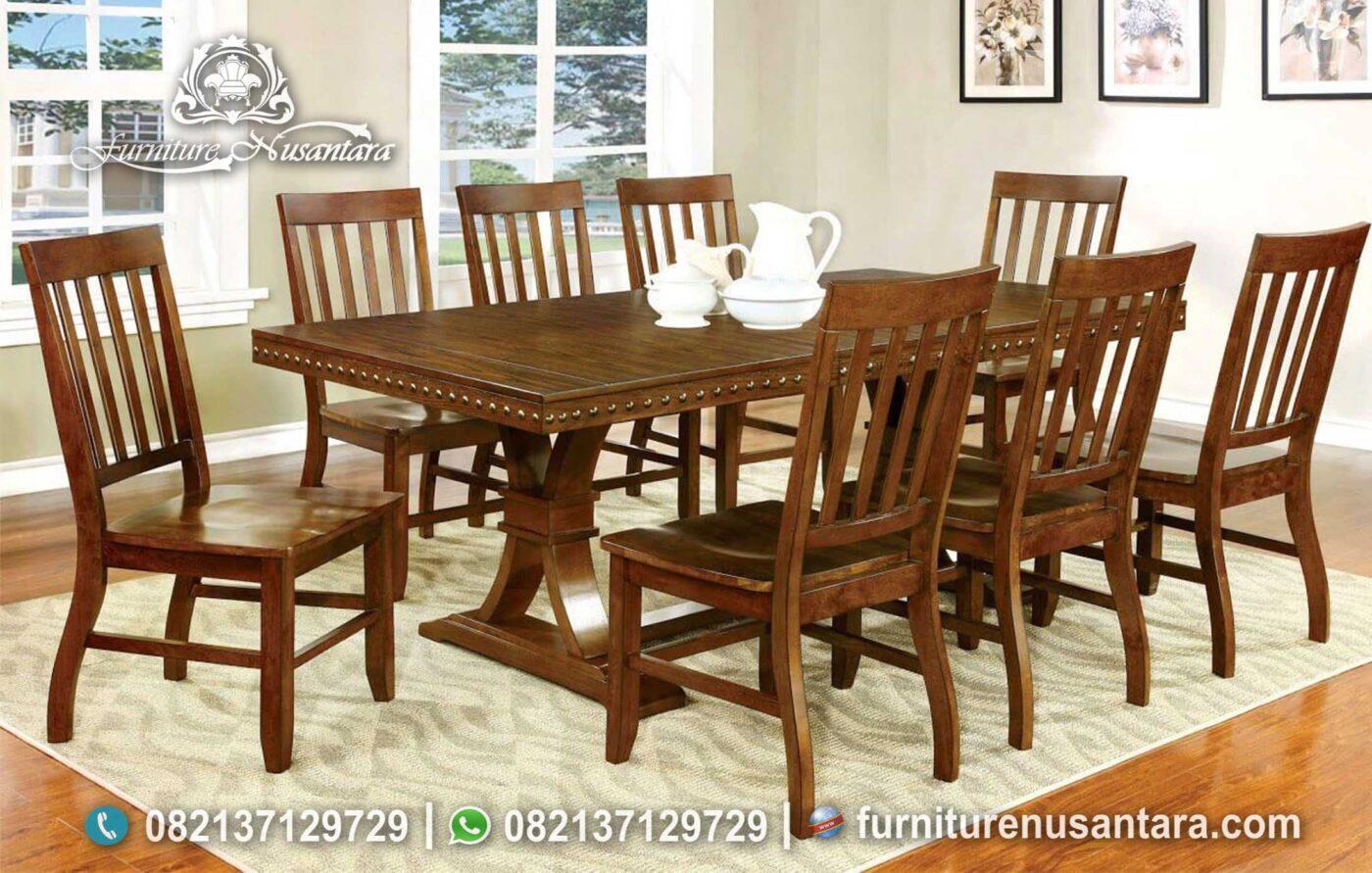 Meja Makan Natural Kayu Jati Sederhana MM-124, Furniture Nusantara