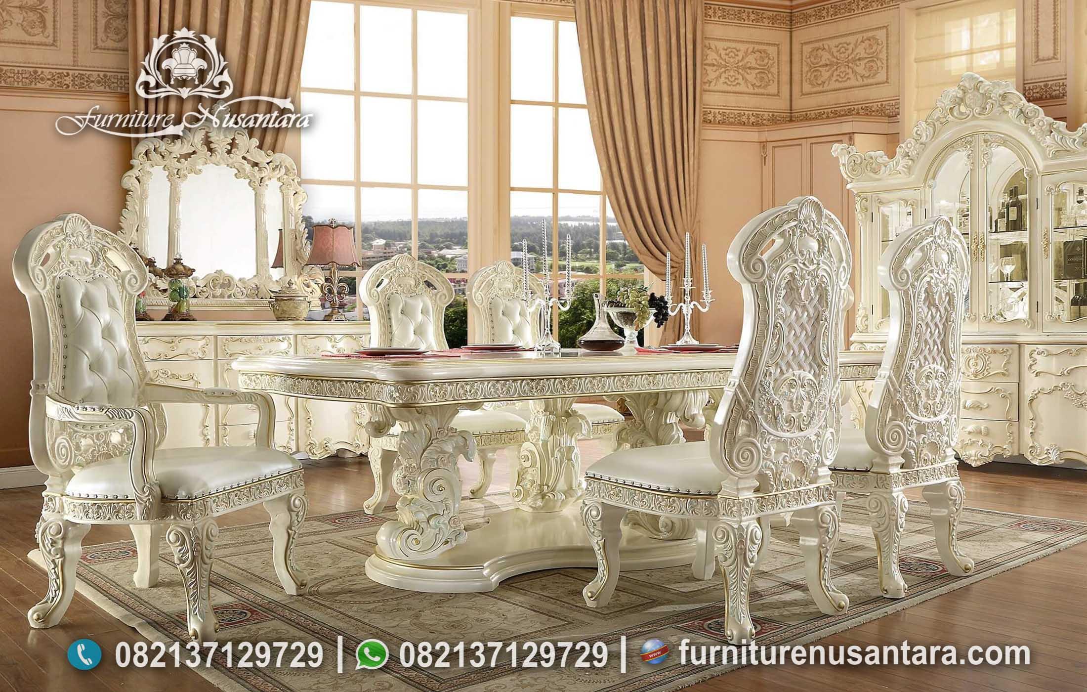 Meja Makan Duco Putih Ukir Termewah MM-131